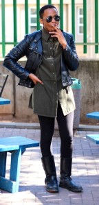 Asanda Madosi smokes a cigarette between classes at the University of Witwatersrand.  Photo by Isaac Riddle.
