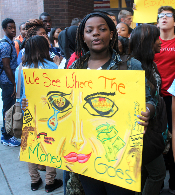 Students stage a sit-in at Constitution High School in Center City Philadelphia.  Students are protesting losing another teacher and not having a full-time counselor.  Photo by Isaac Riddle