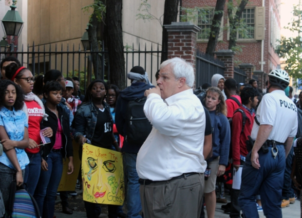 Constitution High School principal, Thomas Davidson, asks students to enter the school building.  Photo by Isaac Riddle