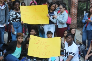 Students at Constitution High School protest rumored cuts to the school's budget.  Photo by Isaac Riddle