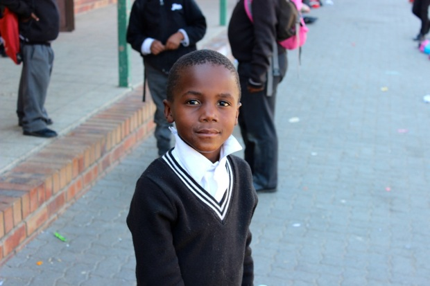 A student at Skeen Primary School, a low income school in the neighborhood of Alexandra in Johannesburg South African.  Photo by Isaac Riddle